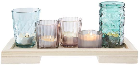 Teelichthalter Rory inkl. Gläser - Multicolor/Naturfarben, MODERN, Glas/Holz (28/11/12cm) - MÖMAX modern living