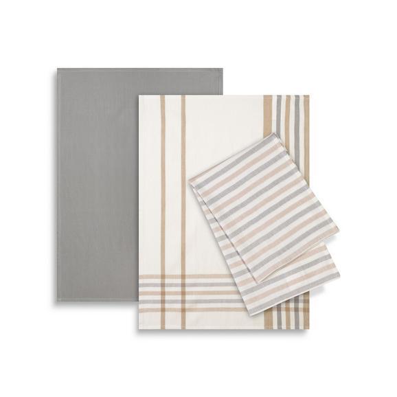 Geschirrtuch-Set Erika 3-teilig - Weiß/Grau, Textil (50/70cm) - Mömax modern living