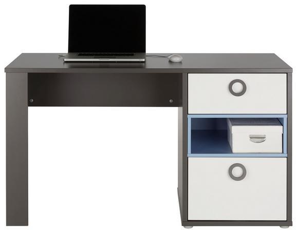 Schreibtisch in Weiß/Grau/blau - Blau/Alufarben, KONVENTIONELL, Holzwerkstoff/Kunststoff (130/76/60cm) - MODERN LIVING