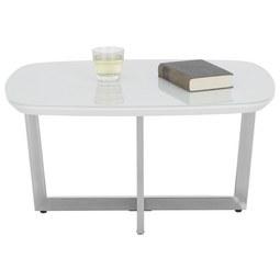 Couchtisch Weiß   Chromfarben/Weiß, MODERN, Glas/Holzwerkstoff (80/40