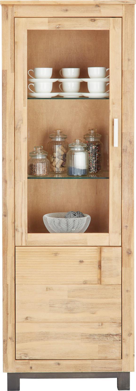 Vitrin Aruba - akác színű, konvencionális, üveg/fa (65/190/45cm)