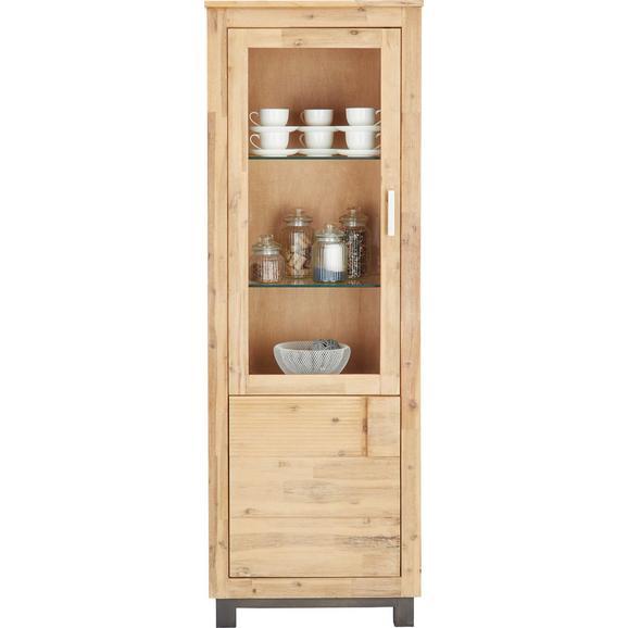 Vitrină Aruba - culoare lemn acacia, Konventionell, sticlă/lemn (65/190/45cm) - Zandiara