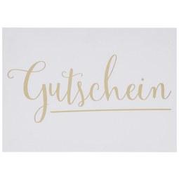 Postkarte Gutschein - Goldfarben/Weiß, Papier (14,8/10,5cm)