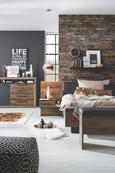 Ágykeret Bellevue - fekete/tölgy színű, Lifestyle, műanyag/bőr (208,7/304,6/96,5cm)