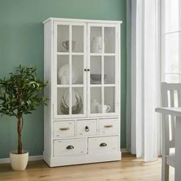 Vitrine in Weiß 'Lewis Vintage' - Weiß, MODERN, Glas/Holz (80l) - Bessagi Home