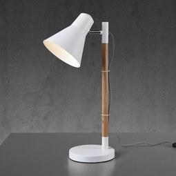 Tischleuchte Veronika - Braun/Weiß, MODERN, Holz/Metall (55cm) - Modern Living