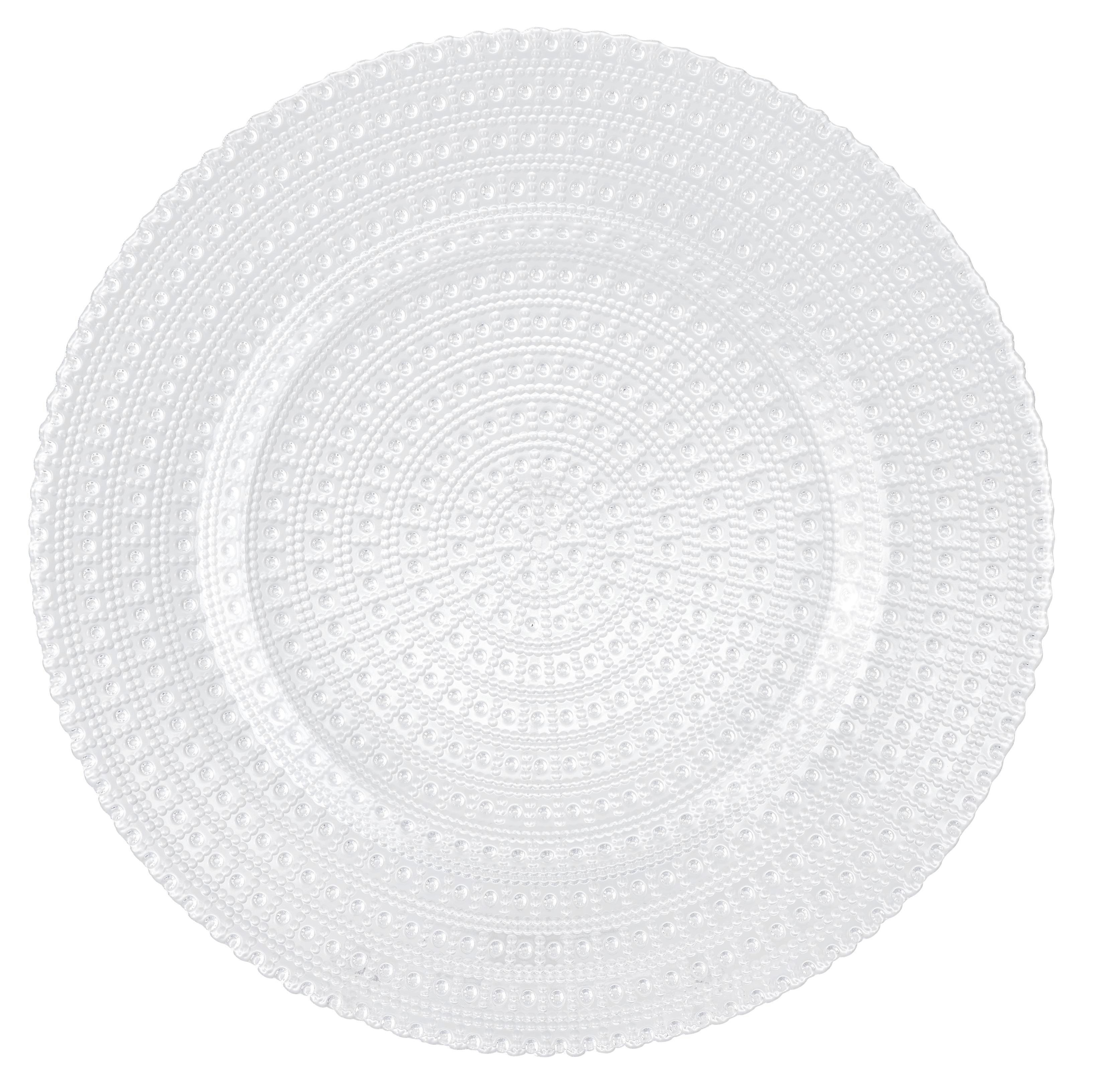 Plitvi Krožnik Carolin - prozorna, Romantika, steklo (28/2cm) - ZANDIARA