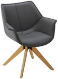 Stuhl Hella - Buchefarben/Grau, MODERN, Holz/Textil (68,5/77,5/47cm) - Modern Living