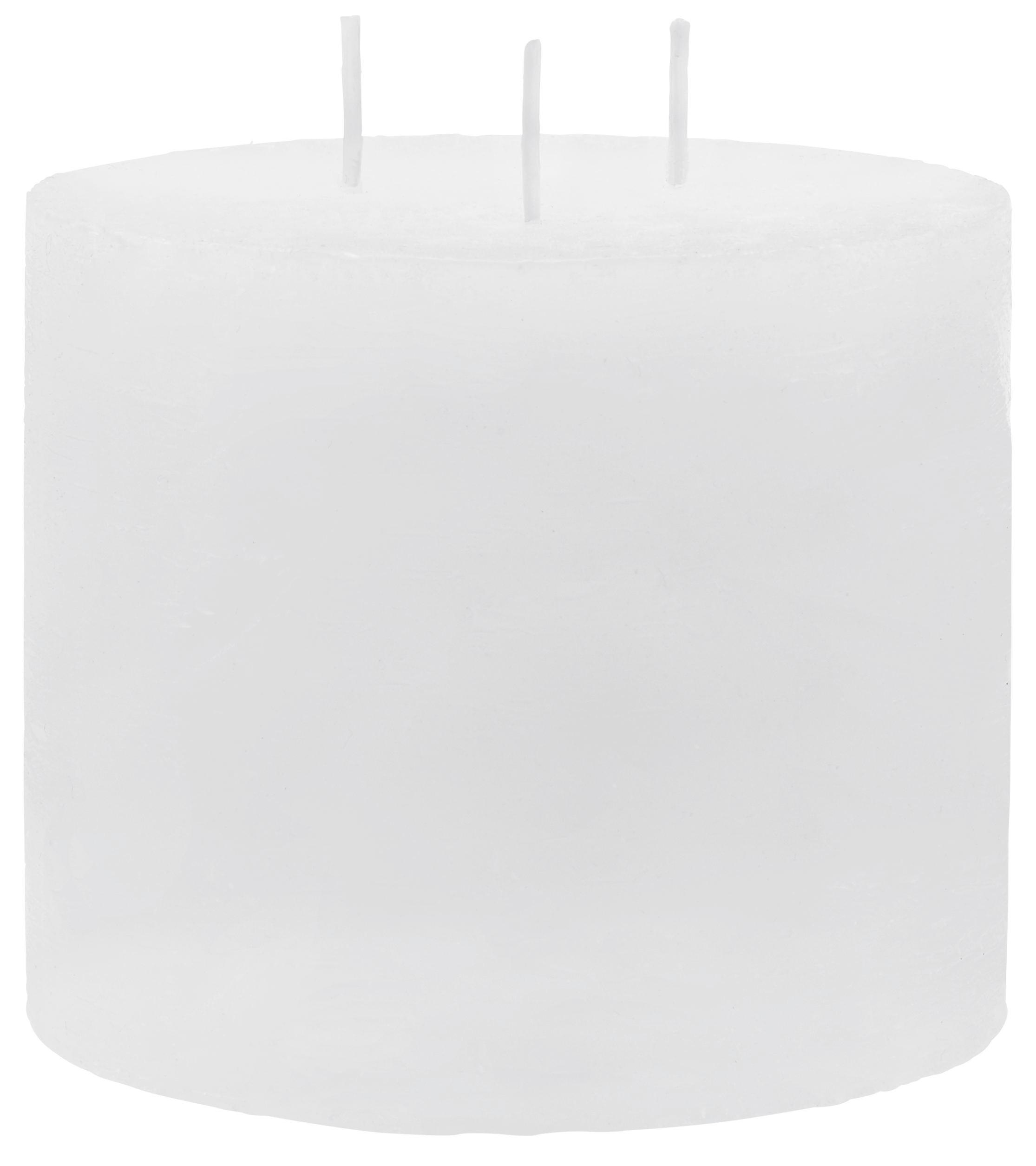 Dreidochtkerze Lia in Weiß - Weiß, MODERN (12/10cm) - MÖMAX modern living