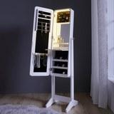 Schmuckschrank Livia inkl. Led-licht - Schwarz/Weiß, MODERN, Glas/Holz (34/143/34cm) - Mömax modern living