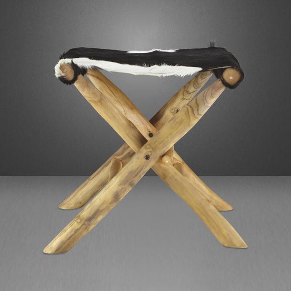 Klapphocker Emmi - Schwarz/Weiß, KONVENTIONELL, Holz/Weitere Naturmaterialien (57/48/47cm) - Premium Living