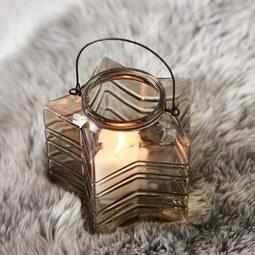Teelichthalter in Braun Ø/H: ca. 18/17,33 cm 'Celine' - Schwarz/Braun, MODERN, Glas/Metall (17,33cm) - Bessagi Home