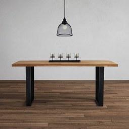 Esstisch aus Eiche Echtholz ca. 180x90 cm 'Kayla' - Eichefarben/Schwarz, MODERN, Holz/Metall (180/76/90cm) - Bessagi Home