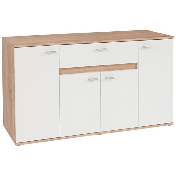 Comodă Carmen - stejar Sonoma/argintiu, Modern, plastic/compozit lemnos (160/80/35cm)