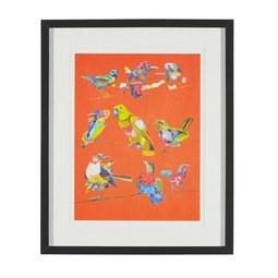 Aquarellbild Birdy I 46x56 cm - Multicolor/Schwarz, MODERN, Glas/Holz (46/56/3cm) - MÖMAX modern living