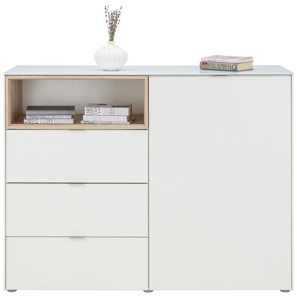 Kommode in Weiß/ Sonoma Eiche - Alufarben/Weiß, MODERN, Glas/Holzwerkstoff (121/92/42cm) - Mömax modern living