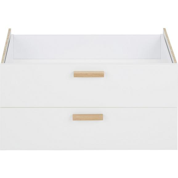 Dupla Fiók Cora - Fehér, modern, Faalapú anyag (71/35cm) - Premium Living