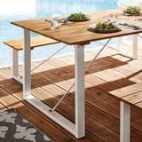Gartentisch Leonor 180x90cm aus Akazienholz - Weiß/Akaziefarben, MODERN, Holz/Metall (180/90/75cm) - Modern Living