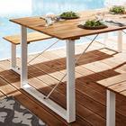 Gartentisch Leonor 180x90cm - Weiß/Akaziefarben, MODERN, Holz/Metall (180/90/75cm) - MODERN LIVING