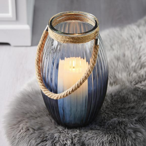 Windlicht in Blau Ø/H ca. 22,5/38 cm 'Rhys' - Blau/Klar, MODERN, Glas/Textil (22,5/38cm) - Bessagi Home