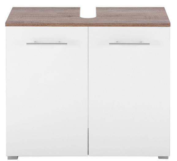 Waschbeckenunterschrank in Weiß/Eiche - Eichefarben/Alufarben, MODERN, Holzwerkstoff/Kunststoff (65/57,5/31,5cm) - MÖMAX modern living