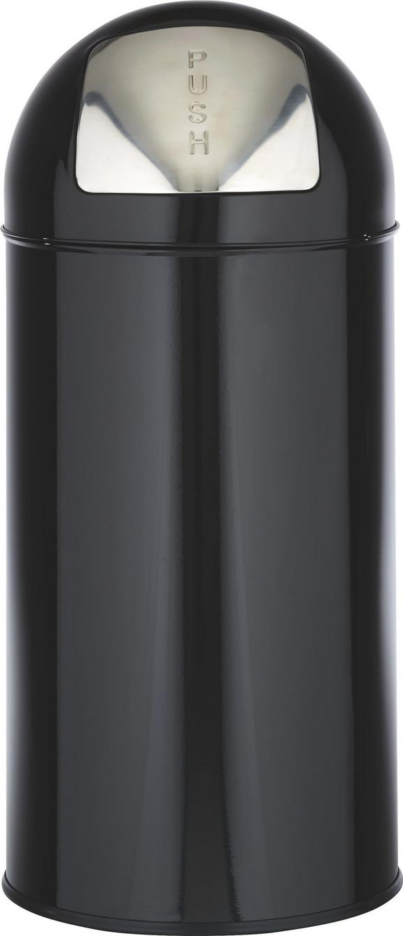 Abfalleimer Push Can S in Schwarz - Edelstahlfarben/Zinkfarben, Metall (29,3/66cm) - Mömax modern living