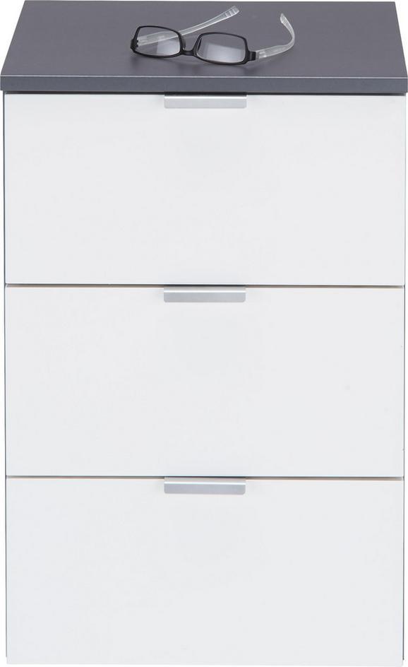 Nachtkästchen in Graphit/Weiß - Alufarben/Graphitfarben, Holzwerkstoff/Metall (40/61/42cm) - Premium Living