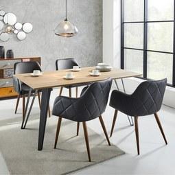 Tisch Gino Ca.160x90cm   Schwarz/Teakfarben, MODERN, Holz/Metall (