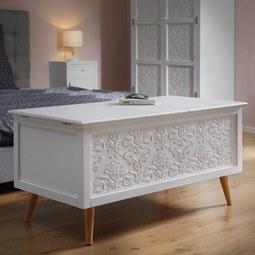 Truhe Valentina mit Stauraum - Weiß/Pinienfarben, MODERN, Holz/Holzwerkstoff (115/56/60cm) - Modern Living