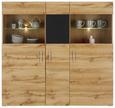 Highboard Eichefarben/Schwarz - Eichefarben/Schwarz, MODERN, Glas/Holzwerkstoff (140/135/37cm) - Modern Living