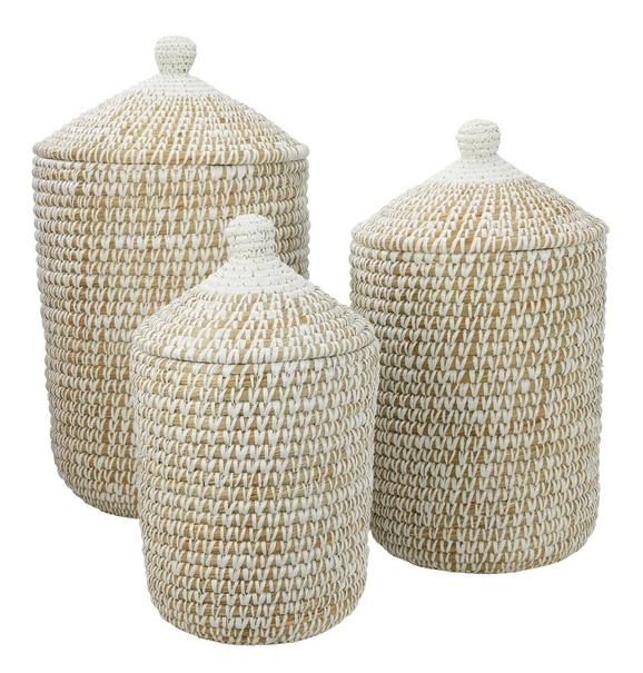 Košara Lauren - M - bela, Romantika, umetna masa/ostali naravni materiali (32/55cm) - Zandiara