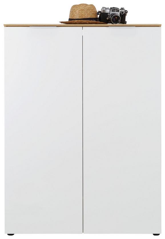 Schuhschrank Weiß/Eichefarben - Eichefarben/Alufarben, MODERN, Holzwerkstoff/Metall (90/121/36cm)