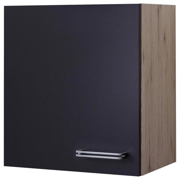 Küchenoberschrank Anthrazit/Eiche - Edelstahlfarben/Eichefarben, MODERN, Holzwerkstoff/Metall (50/54/32cm) - FlexWell.ai