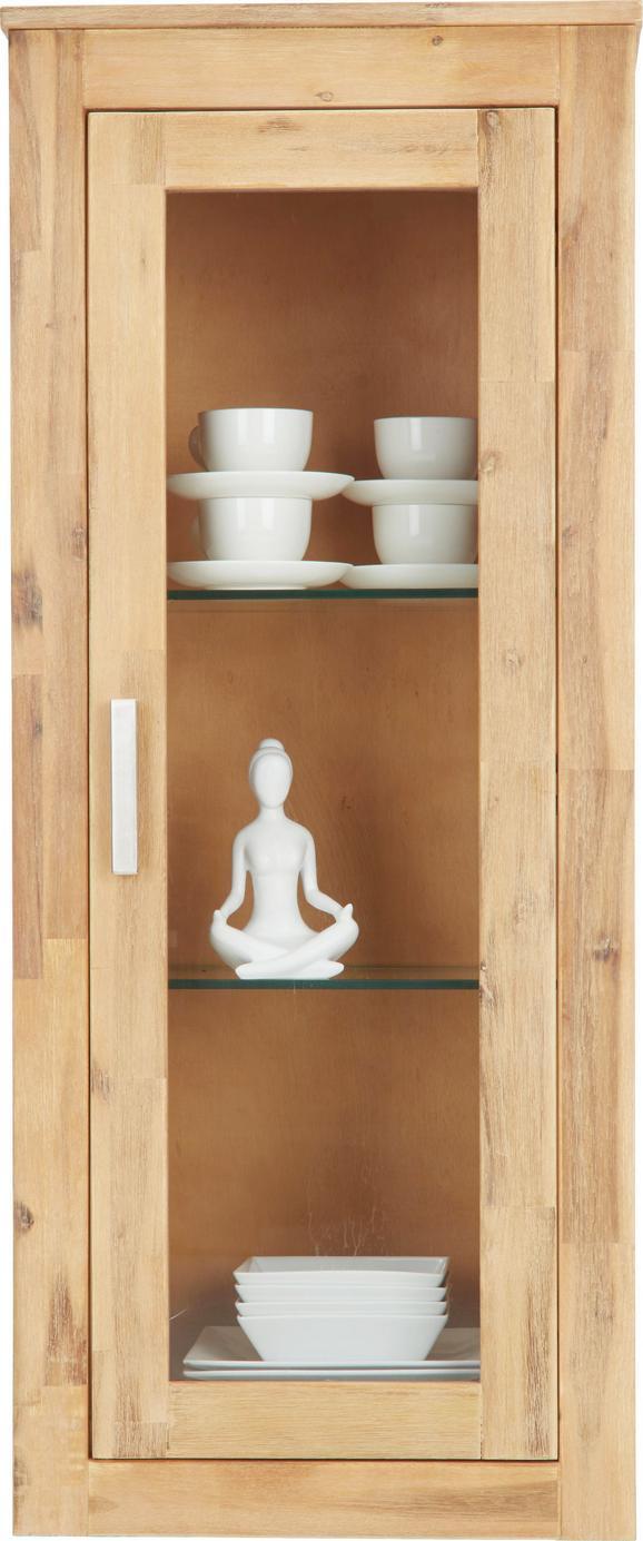 Hängeelement Akazie - Klar/Silberfarben, KONVENTIONELL, Glas/Holz (50/120/35cm) - Zandiara