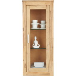 Hängeelment in Akazienfarben Teilmassiv - Klar/Silberfarben, KONVENTIONELL, Glas/Holz (50/120/35cm) - Zandiara