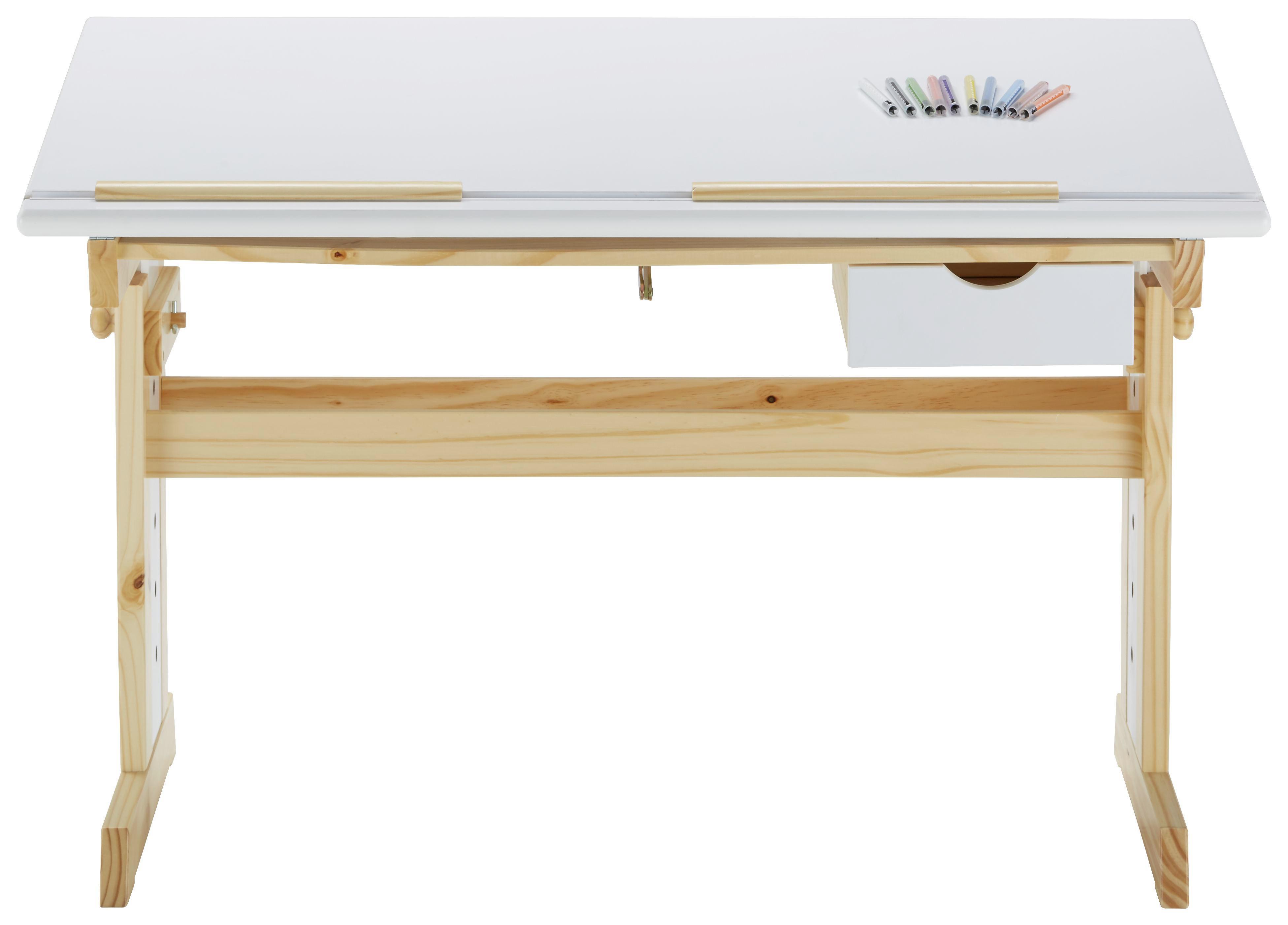 Schreibtisch In Weiß/Natur   Naturfarben/Weiß, MODERN, Holz (109/