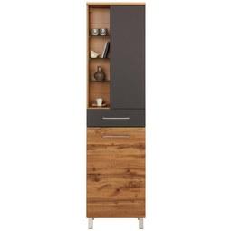 Hochschrank Anthrazit/Eichefarben - Chromfarben/Eichefarben, MODERN, Glas/Holzwerkstoff (50/194/33cm) - Premium Living