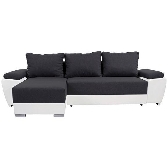 Sjedeća Garnitura Milano - bijela/tamno siva, Basics, koža/tekstil (270/90/160cm)