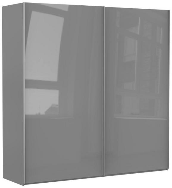 Schwebetürenschrank Grau Hochglanz - Alufarben/Grau, KONVENTIONELL, Holzwerkstoff/Metall (225/222,5/67cm) - PREMIUM LIVING