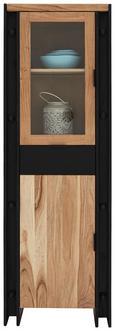 Vitrine Schwarz/Natur - Schwarz/Naturfarben, LIFESTYLE, Glas/Holz (60/180/40cm) - Zandiara