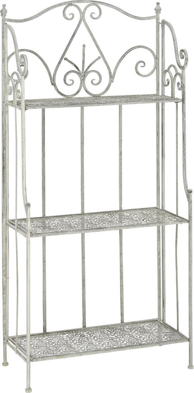 Gartenregal Francine - Weiß/Grau, MODERN, Metall (60/126/28cm) - MODERN LIVING