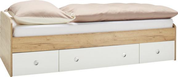 Bett Eichefarben/Weiß 90x200cm - Eichefarben/Schwarz, KONVENTIONELL, Holzwerkstoff/Kunststoff (94/42-60/204cm) - Modern Living