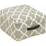 Pouf in Weiß/Beige ca. 50x25cm 'Ornament' - Beige/Naturfarben, KONVENTIONELL, Textil (50/50/25cm) - Bessagi Home