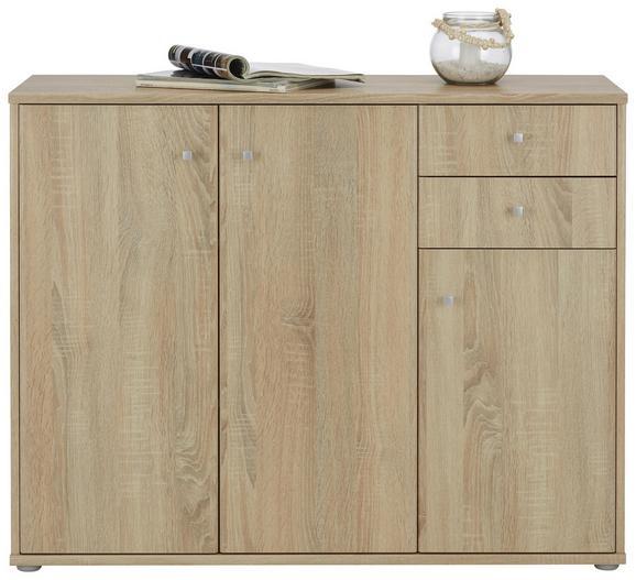 Sideboard Sonoma Eiche - Alufarben/Grau, MODERN, Holzwerkstoff/Kunststoff (106,2/86/34cm)