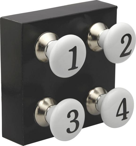 Möbelknopf Numbers in Weiß/Schwarz - Weiß, MODERN, Keramik (4/6,5cm) - Ambia Home