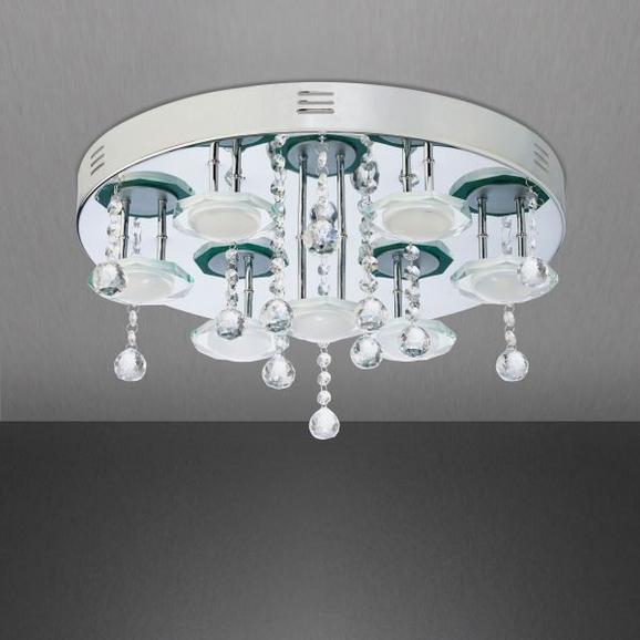 LED-Deckenleuchte Wave - Chromfarben, MODERN, Glas/Metall (45/45/25cm) - premium living