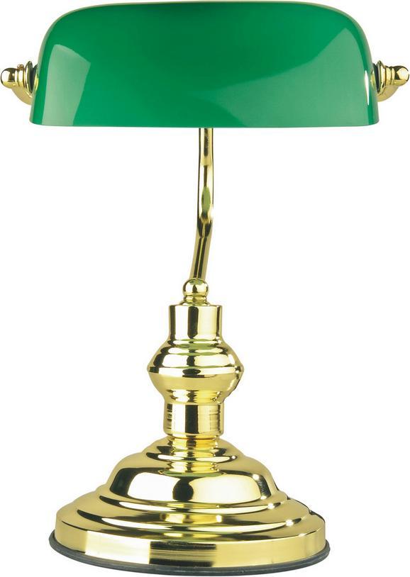 Asztali Lámpa Bank - Zöld, konvencionális, Üveg/Fém (25/36cm) - Landscape