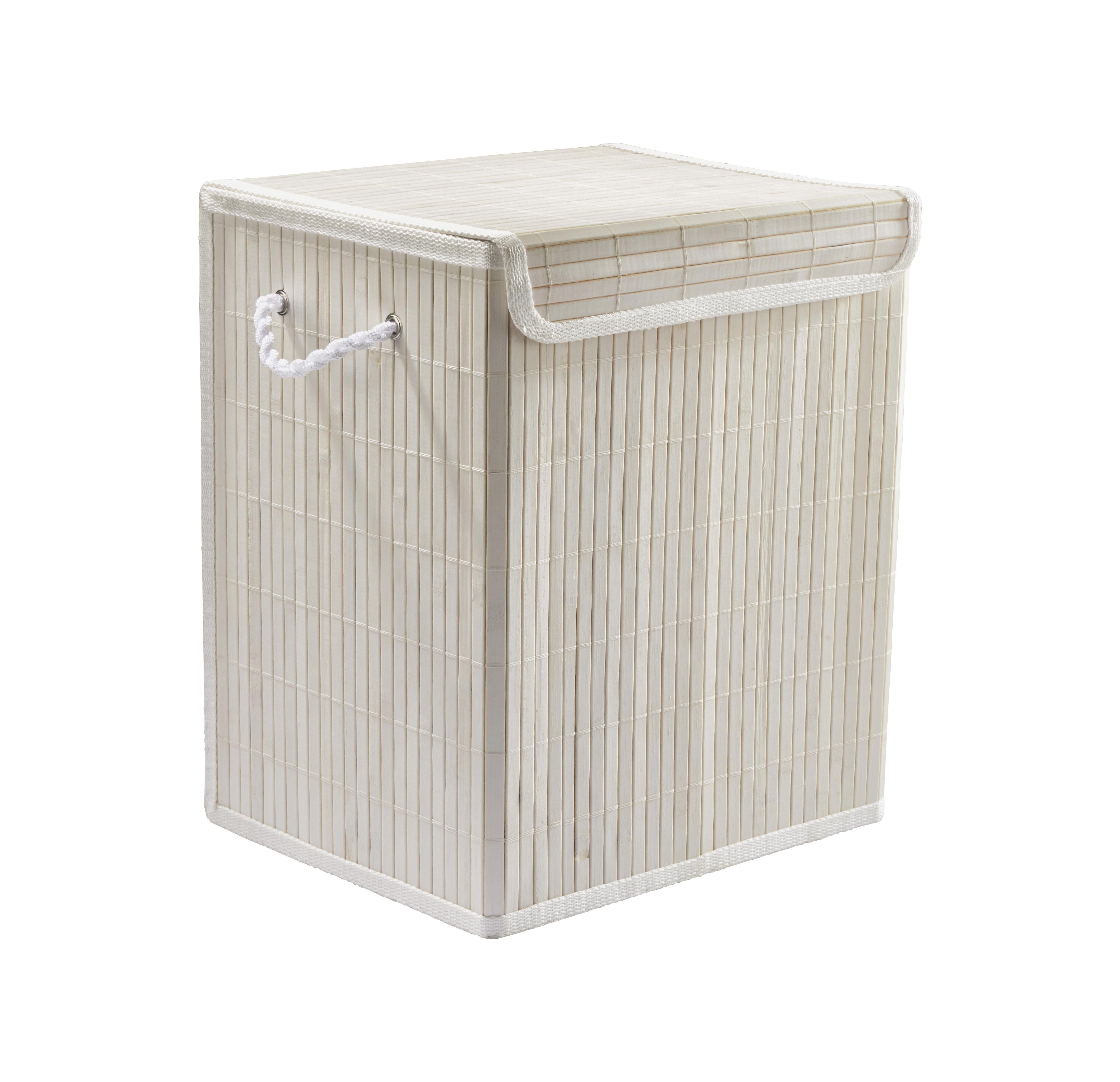 Szennyestartó Bamboo White - fehér, fa (37/28/40cm) - MÖMAX modern living