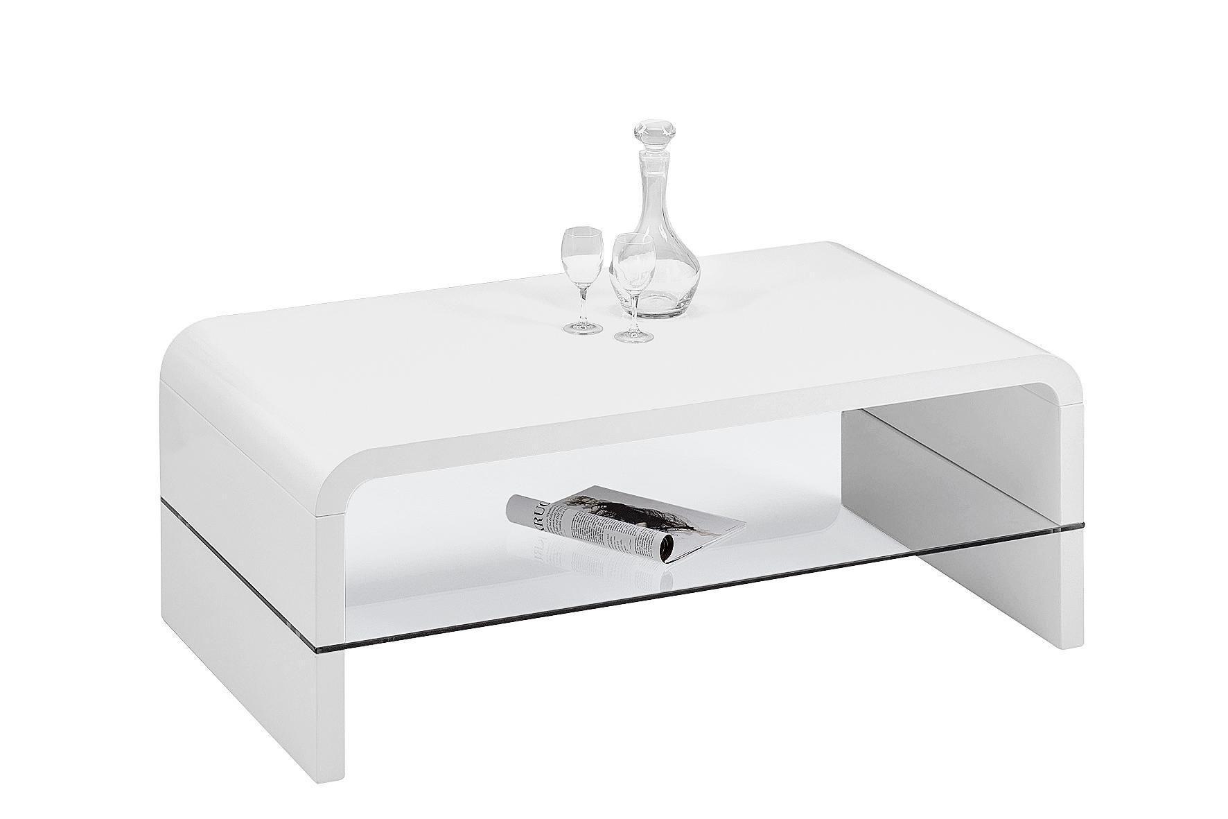 Dohányzóasztal Aruba - fehér, modern, üveg/fa (110/40/60cm)