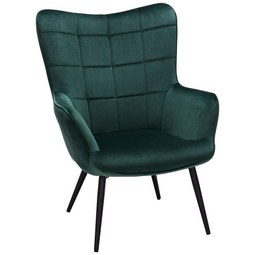 Relaxsessel aus Samt in Grün - Schwarz/Grün, MODERN, Textil/Metall (72/98/80cm) - Modern Living
